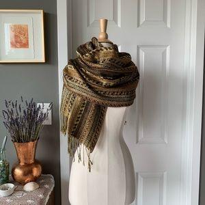 Vintage metallic gold paisley blanket scarf 1234